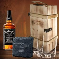 Gravur Jubiläum Whisky Geschenkset Holzbox inkl 5-tlg