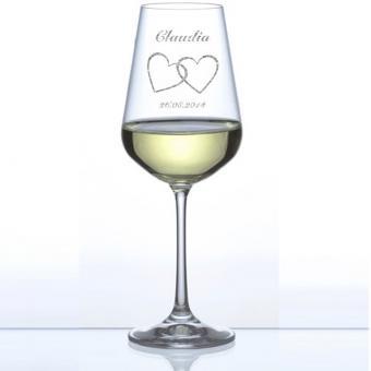 Weinglas mit Gravur - Weißwein Glas Hearts