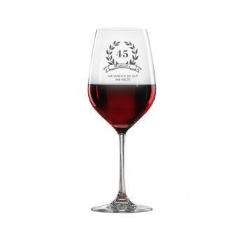 Rotweinglas zum Geburtstag