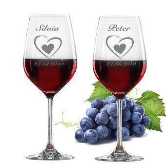 2 Rotweingläser mit Gravur