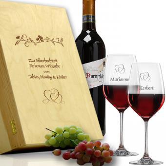 Rotwein Gläser im Set zur Silberhochzeit mit Holzkiste