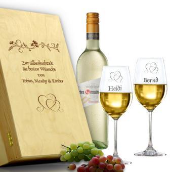 Weingläser zur Silberhochzeit als Geschenkset