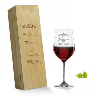Rotweinglas graviert in Holzkiste Geburtstag