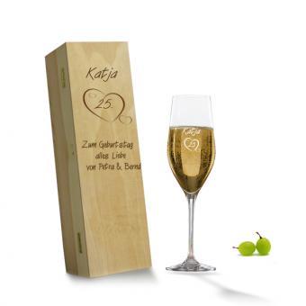Personalisierbares Geschenk -  Sektglas in Holzkiste Geburtstag
