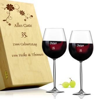 Weingläser in Holzkiste zum Geburtstag