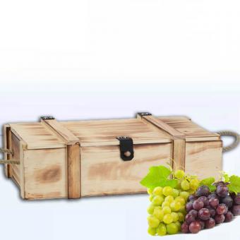 Holzkiste für Wein-Präsente geflammt 2er