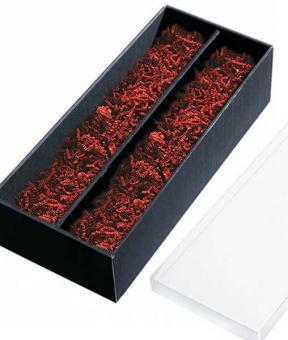 Weinkassette, Geschenk Box 2er schwarz Sizzlepack rot