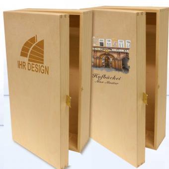 Holz Kiste mit Logo gravieren 2er