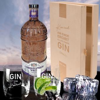 Individuelles Gin Set mit 2 Gläsern in Holzbox