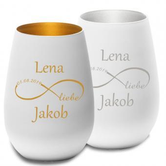 Teelicht mit Wunschnamen gold oder silber