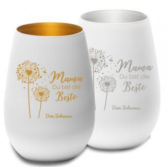 Windlicht mit Gravur Gold oder Silber für Mama