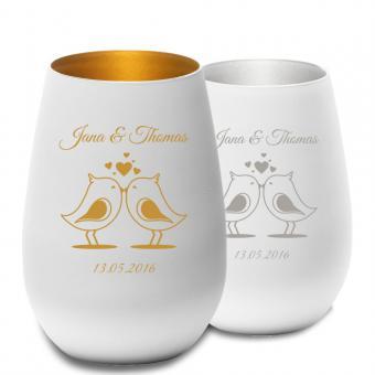 graviertes Teelicht für Verliebte in gold oder silber