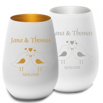 graviertes Teelicht zur Hochzeit gold oder silber