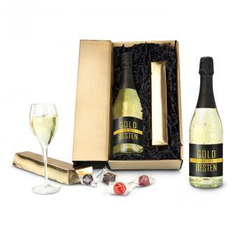 Gold für die Besten Sektflasche im Geschenk Set