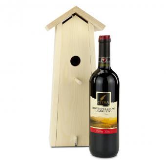 Italienischer Wein im Nistkasten als Geschenk
