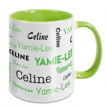 Tasse mit 2 Namen in verschiedenen Schriftarten - grün