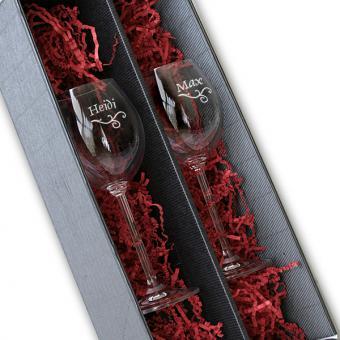 2 Weißweingläser in Geschenkverpackung