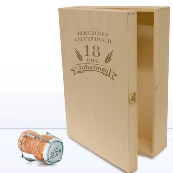 Holzkiste zum Geburtstag mit Gravur 3 Flaschen oder Gläser