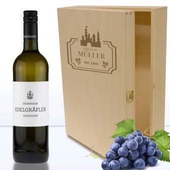 Holzbox für Wein-und Sekt- Geschenke mit Namen 3er Wein-Motive