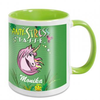 Einhorn Anti Stress Becher mit Namen