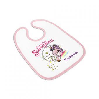 personalisierbares Geschenk Babylätzchen Einhorn mit Namen