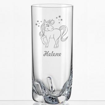Saftglas mit süßem Einhorn und Namen personalisiert