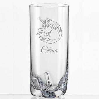 Saftglas mit Einhorn und Namens-Gravur