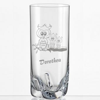 Saftglas mit Eulenmotiv und Namen personalisiert