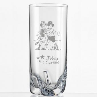 Saftglas mit Fußballern und Namen personalisiert