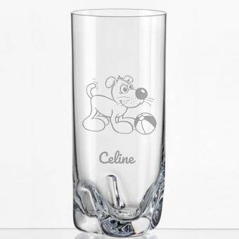 Saftglas mit lustigem Hund und Namen personalisiert