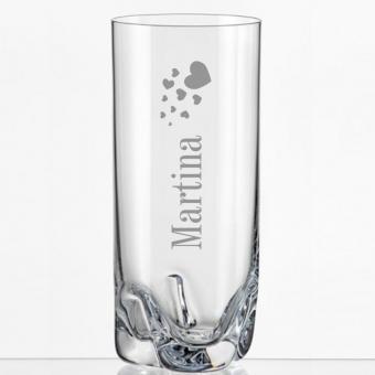 Saftglas mit Motiv - Herzen