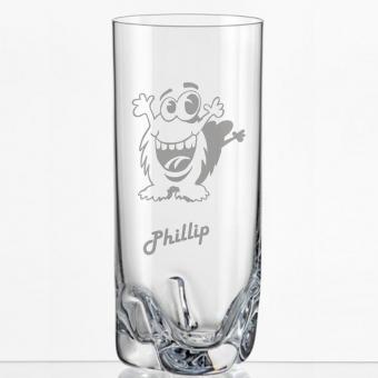 Saftglas mit lustigem Monster und Namen personalisiert
