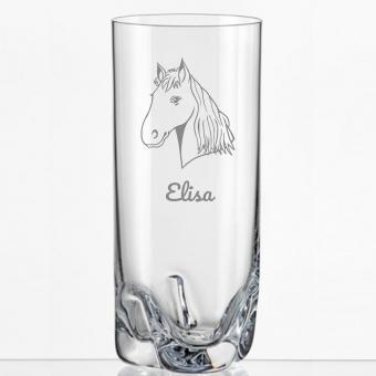 Saftglas mit Pferdemotiv und Namens-Gravur