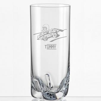 Saftglas mit Rennauto und Namen personalisiert