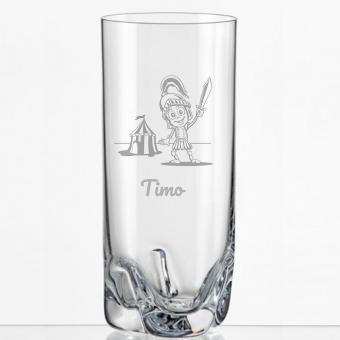 Saftglas mit Rittermotiv und Namen personalisiert