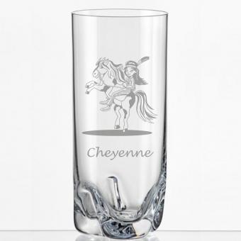 Saftglas mit Indianersquaw und Namen personalisiert
