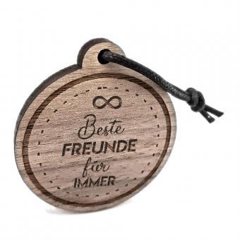 """Schlüsselanhänger aus Holz, graviert """"Beste Freunde für immer"""""""