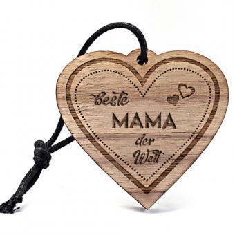 """gravierter Schlüsselanhänger """"Beste Mama"""" aus echtem Nussbaum"""