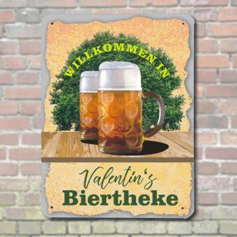 Persönliches Blechschild mit Namen bedrucken Biertheke