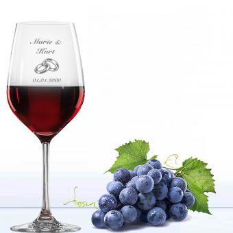 Weinglas Hochzeit - Rotwein Ringe