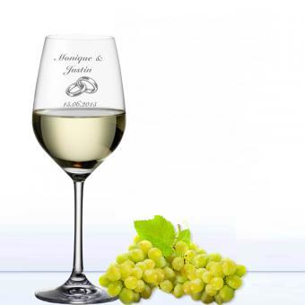 Weinglas Hochzeit - Weißwein Ringe
