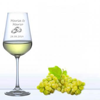 Weinglas für die Hochzeit - Weißwein Ringe