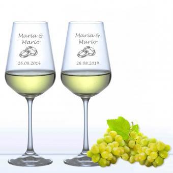 Weingläser zur Hochzeit - Weißwein Ringe