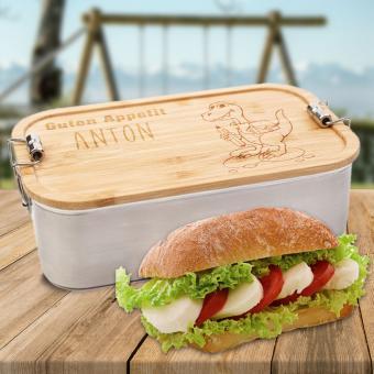 Brotdose Edelstahl personalisiert mit Dino und Namen