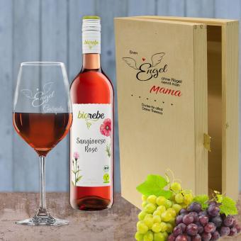 Rotwein Geschenkset bedruckt und graviert mit Wunschtext - Einen Engel ohne Flügel Biorebe Sangiovese Rosé