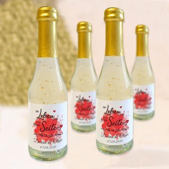 Ein Leben lang - Flaschenetikett zur Hochzeit für Sekt Piccolo 0,2 l Flaschen fester Grußtext