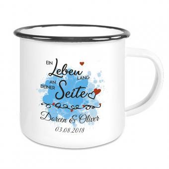 Emaille Tasse mit Ein Leben lang ... mit Namen und Datum