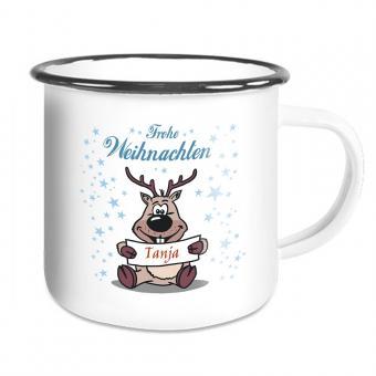 Weihnachten Emailletasse mit witzigem Elch und Namen