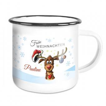 Emailletasse Weihnachten mit lustigem Elch und Namen
