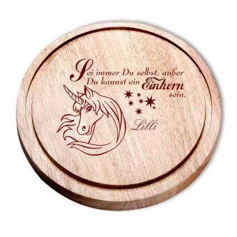 Einhorn Geschenke Holz Brett individuell mit Gravur
